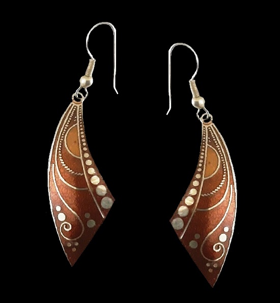 Brown yellow dangle earrings