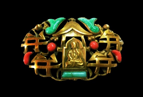 Buddha Chinese motif brooch. Brass, enamel, art glass. 5.5 cm. 1930s