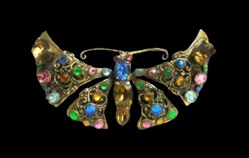 Butterfly brooch. Brass, rhinestones, crystals. 7 cm. 1940s