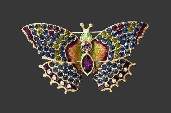 Butterfly brooch. Gold tone metal alloy, enamel, rhinestones. 7 cm. 1990s