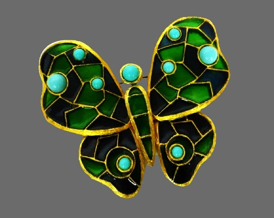 Butterfly brooch. Plique-a-jour Gripoix glass, faux turquoise cabochons, gold-tone alloy. 1960s