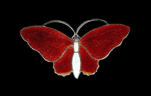 Butterfly brooch. Red and white enamel, sterling silver