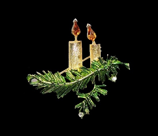 Candle and pine branch Christmas brooch. Gold tone, rhinestones, enamel