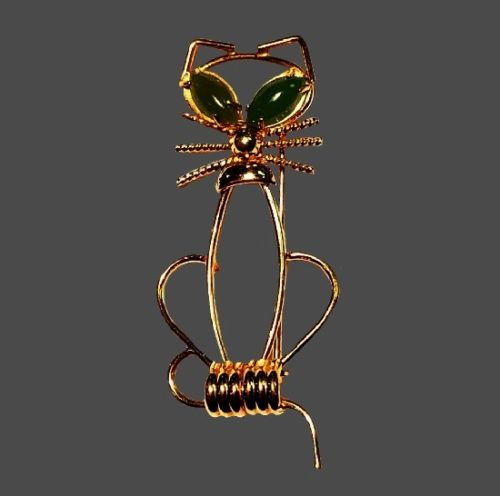 Cat with jade eyes 12 K gold filled brooch
