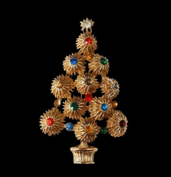 Christmas tree brooch. Gold tone metal, rhinestones