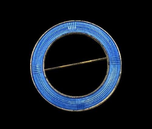 Circle brooch pin. Blue enamel, sterling silver