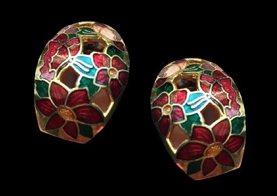 Cloisonne enamel earrings. 2.5 cm