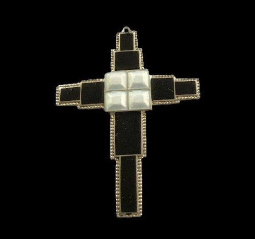 Cross pendant. Enamel, sterling silver