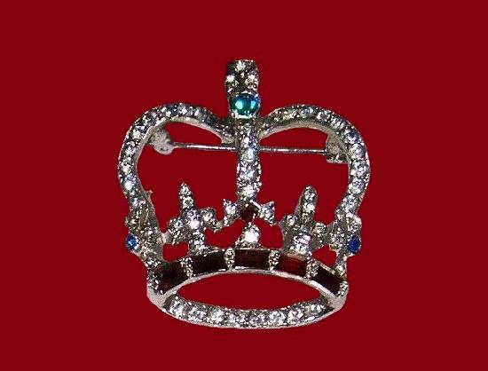 Crown vintage brooch pin. Silver tone metal, enamel, rhinestones