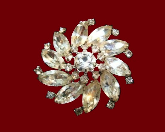 Crystal flower vintage brooch