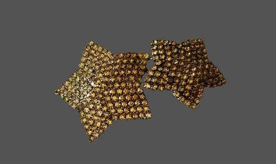 Double Star pin brooch. Metal alloy, pave rhinestones