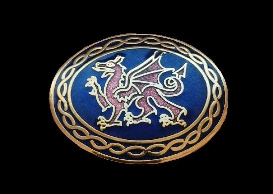 Dragon oval shaped brooch. 24 gold plated, blue enamel. 4.8 cm. 1990s