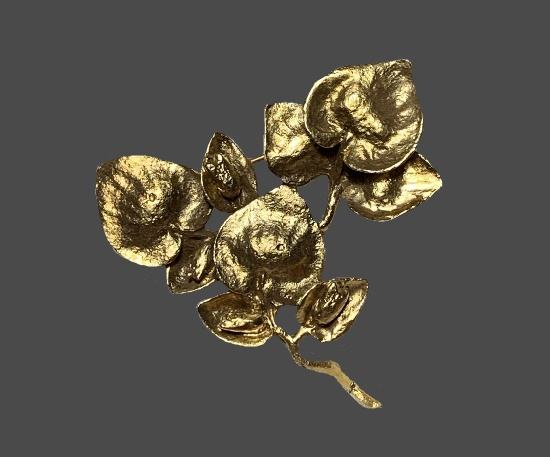 Eucalyptus brooch. Gold plated pewter
