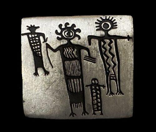 Family tribal design 1998 pewter brooch