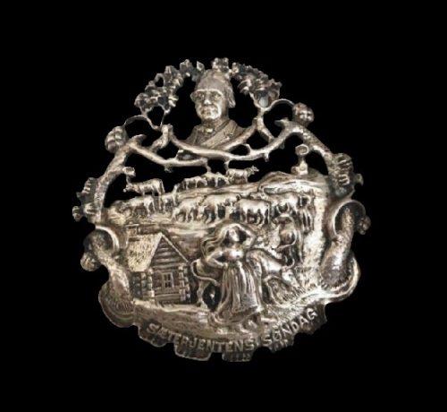 Farm girl historical plot sterling silver brooch