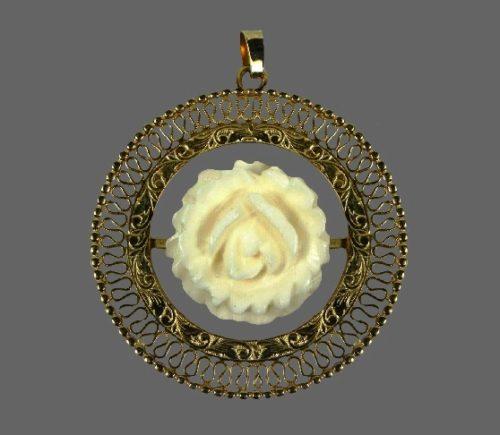 Filigree design carved rose 12 K gold filled pendant