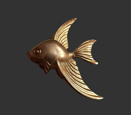 Fish brooch. Gold filled sterling silver