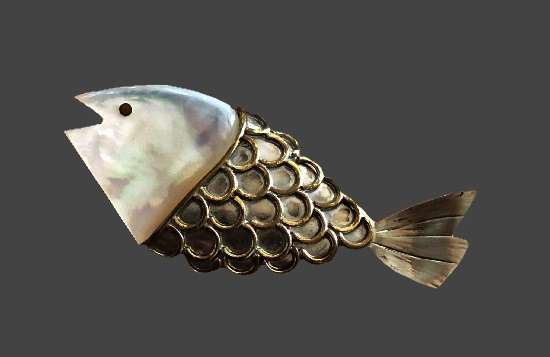 Fish pin. Gold and silver tone metal alloy, mother-of-pearl