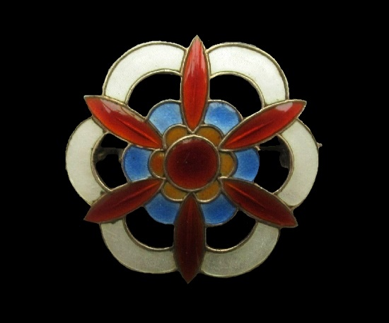 Floral geometric design sterling silver enameled brooch pin. 1940s
