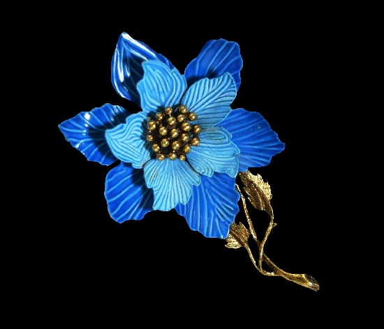 Flower brooch pin, blue enamel, gold tone textured metal