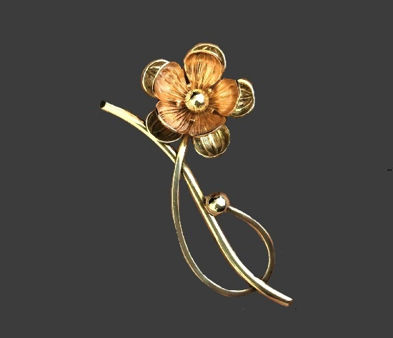 Flower brooch. 10 K gold filled sterling silver. 1950s