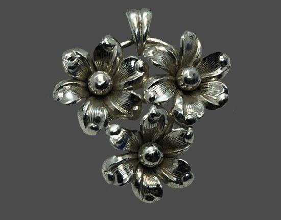 Flower pendant. Sterling silver. 1960s