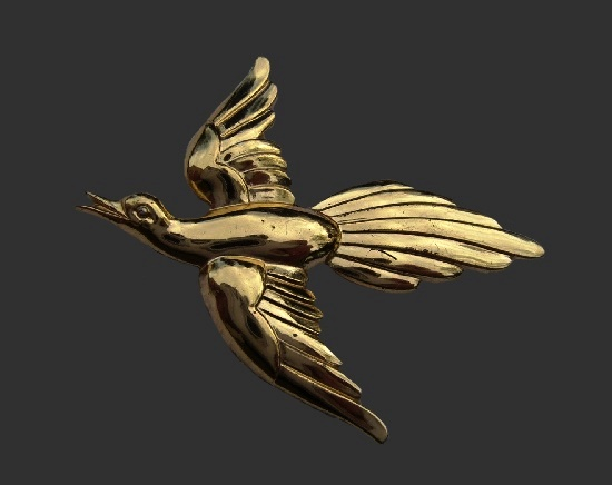 Flying bird. Sterling silver, gold plated