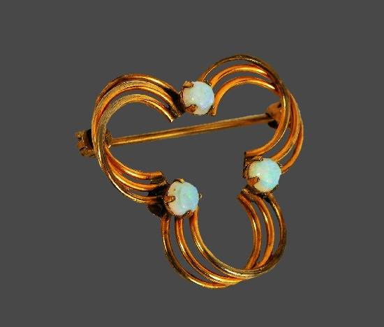 Geometric design semi circle brooch pin. 12 K gold filled, opals