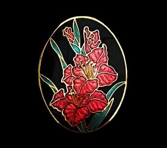 Gladiolus brooch. Gold tone, cloisonne enamel. 4 cm. 1980s