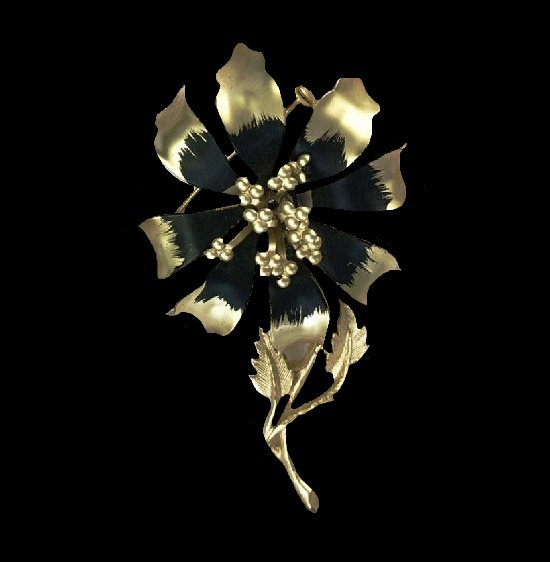 Gold tone enamel flower brooch