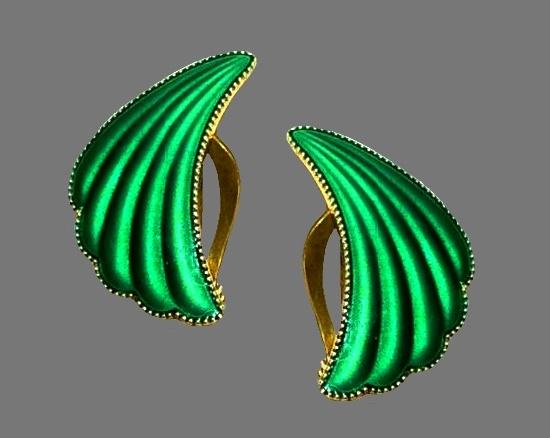 Green guilloche enamel sterling silver clip on earrings