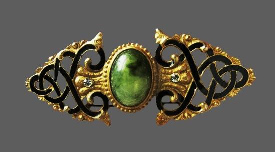 Green stone gold tone black enamel rhinestones runaway brooch