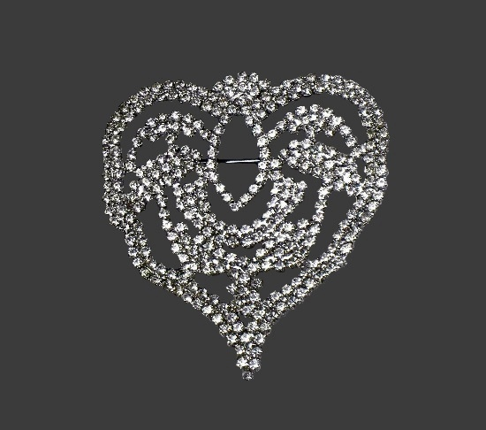 Heart brooch. Silver tone metal alloy, pave rhinestones
