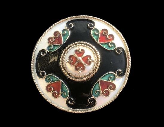 Heart ornament sterling silver enamel brooch. 5.5 cm