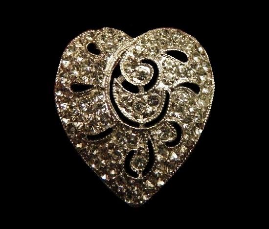 Heart pin. Silver tone alloy, pave rhinestones