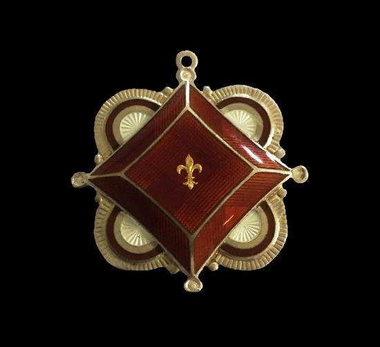Heraldic pendant. Sterling silver, enamel