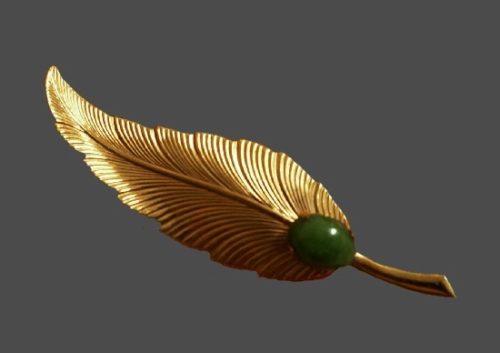 Jade cabochon 12 K gold filled leaf brooch