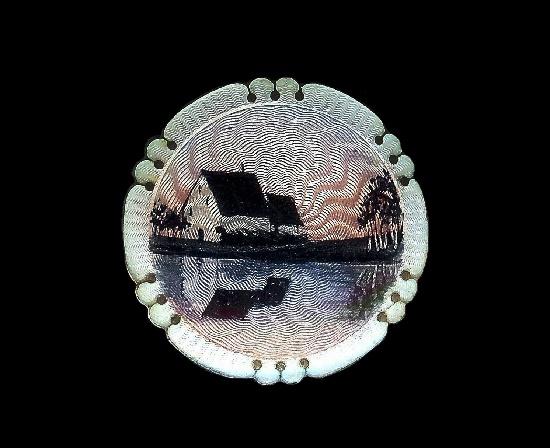 Landscape round brooch pin. Sterling silver, enamel. 1927