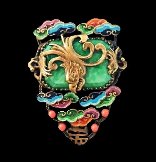 Large statement brooch pendant. Chinese clouds theme