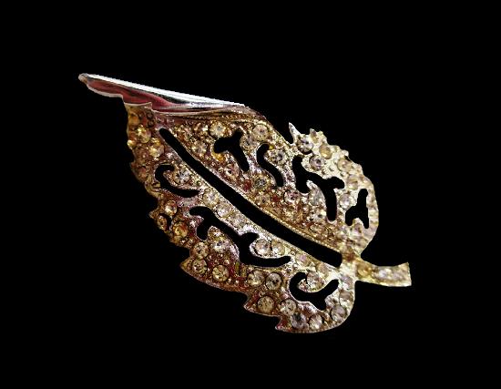 Leaf brooch. Silver tone metal alloy, rhinestones