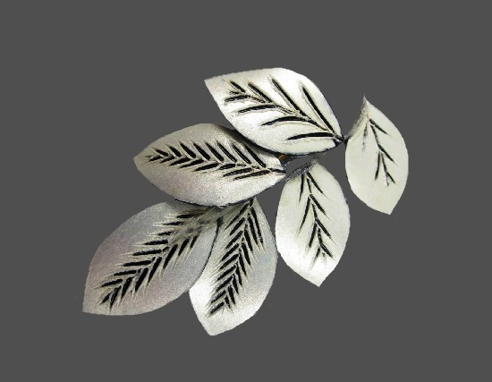 Leaf spray silver plated resin brooch
