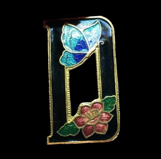 Letter D flower and butterfly brooch. Gold tone, enamel. 4 cm