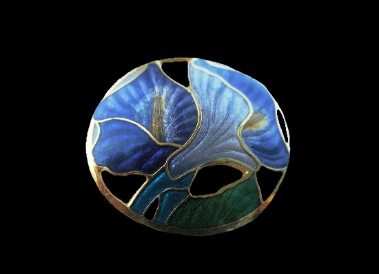 Lily brooch pin. Cloisonne enamel, gold tone