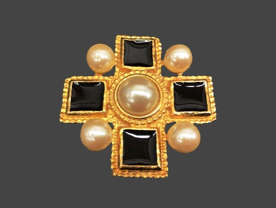 Lucite faux pearls gold tone cross pin pendant