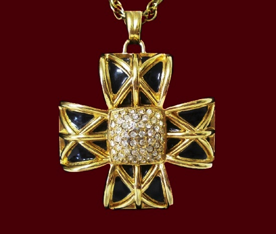 Maltese cross pendant. Gold tone, black enamel, rhinestones