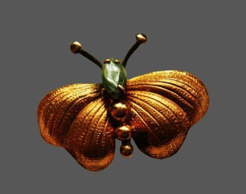 Moth brooch. 12 K gold filled textured metal, jade