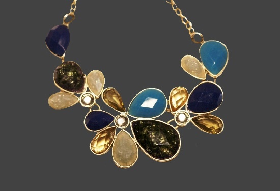 Multicolor art glass gold tone necklace