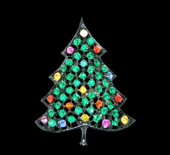 Multicolor rhinestones Christmas tree brooch, metal alloy, black enamel