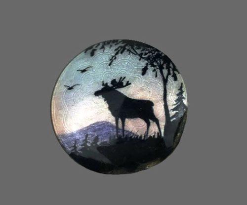 Night Landscape with elk brooch. Sterling silver, enamel. Horseshoe NE signed