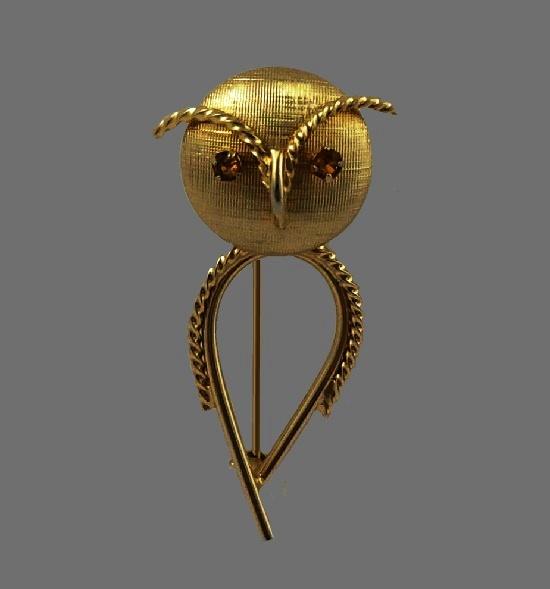 Owl brooch. 12K gold filled textured metal, topaz eyes